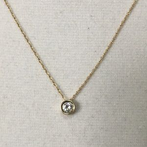 Jewelry - 14K Yellow Gold 1/3CT Faux Diamond Bezel Necklace